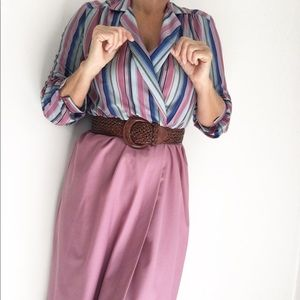 Vintage 70s Mauve Striped Secretary Dress